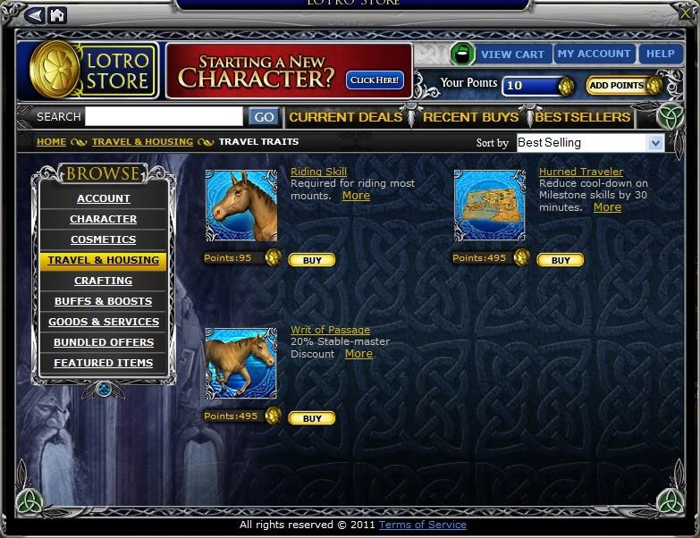 The riding skill being sold at the LotRO store