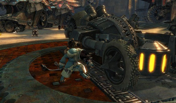 "Kahlef ""fixing"" one of the charr war vehicles"