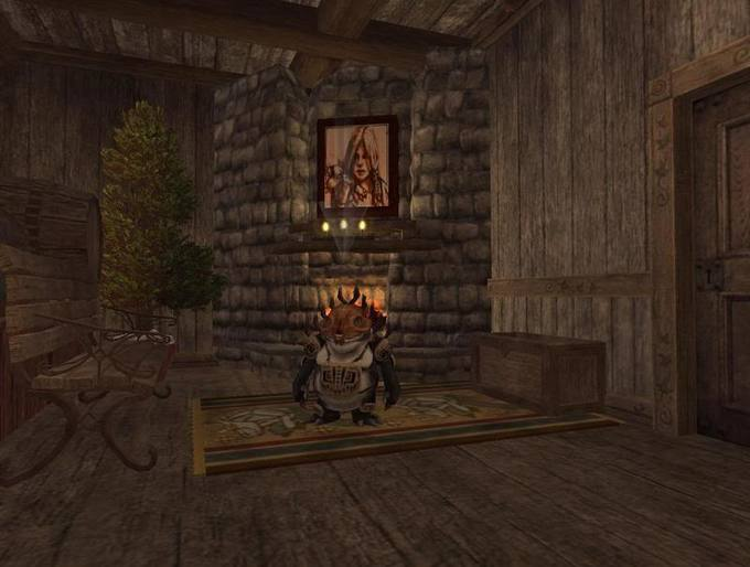 Mirthday chilling by the fireplace