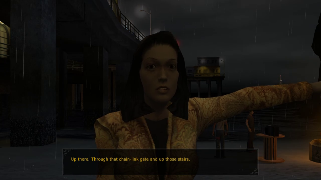 Rosa telling us where to find some drug dealers we'll need to kill in a bit