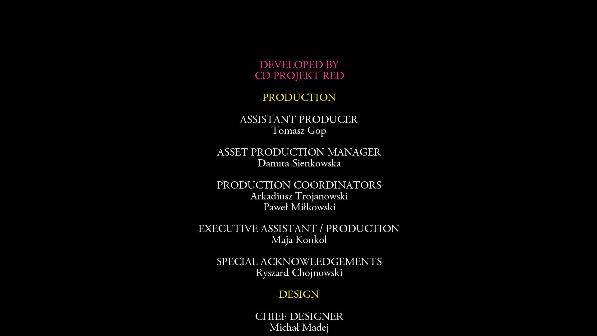 End credits for The Witcher