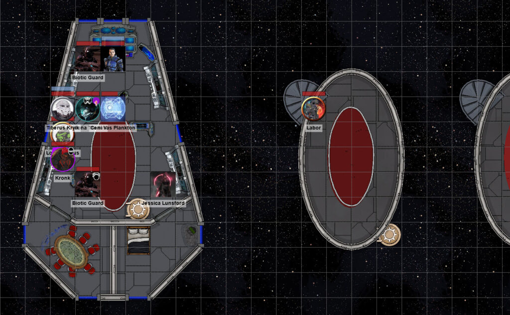 Battlemap showing Jessica, two guards and the pilot vs. Sidona, Tiberus, Lorik, Kronk, Labor and his drone.
