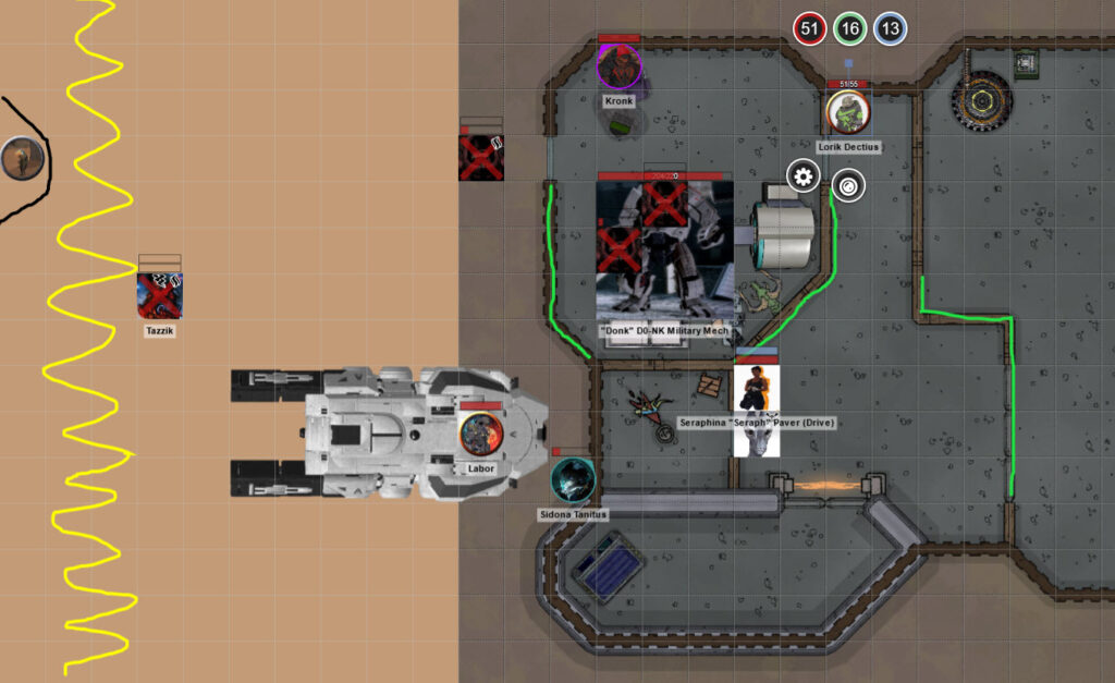 Combat grid showing our party, a bunch of dead enemies and the sniper on the other side of the map.