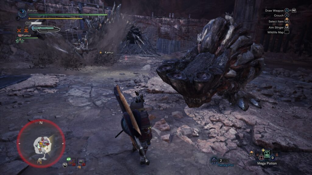 Fighting a Barroth and a Radobaan in the arena