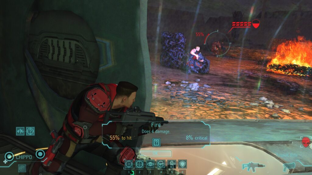 A soldier about to shoot an Outsider alien with 55% to hit chance.